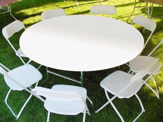 60 Inch Round White Plastic Table Cover Rentals Canton Ct