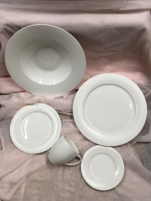 Where to find DISHES, WHITE LATTICE PATTERN in Canton